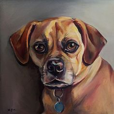 Pet Portraits Paintings Oil on Canvas - Chloe the Puggle  www.juliepfirsch.com