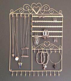 Shabby Chic Vintage Large Jewellery Wall Hanger Holder Cream: Amazon.co.uk: Kitchen & Home