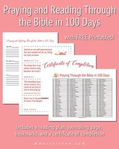 - I haven't checked this source out yet - must ensure that this bible study is legitimate/ensure that it isn't  a  Mormon/LDS site or other such cultish ploy.  |   Read the Bible in 100 Days! Free printables!