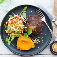 Beef Scotch with Miso Kumara Mash and Thai Slaw