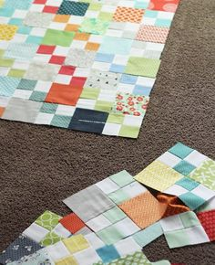 Blocks - Scrap quilt. I like the simple pattern she uses