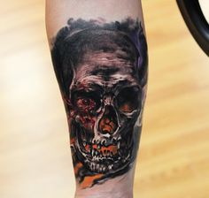 """""""This is my first tattoo done by Dmitry Vision at Wyld Chyld in Pittsburgh, PA. Its a skull representing a rare headache condition I suffer from known as cluster headaches. They are also known as suicide headaches and considered the most painful natural human condition a person can suffer from. The pain is mostly located around the eye and stays on one side of the face."""""""