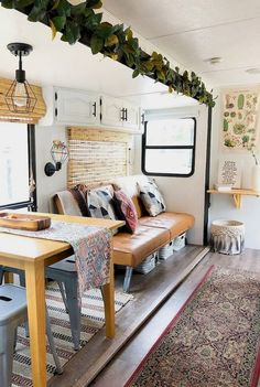 25 Creative RV Camper Remodel Ideas on a Budget ---------------------------------------------------------------A Perfect Wooden Furniture With Wooden Rack In The RV Living Creative Motorhome Interior, Campervan Interior, Rv Interior Remodel, Travel Trailer Remodel, Travel Trailers, Rv Homes, Rv Makeover, Camper Renovation, Camper Remodeling
