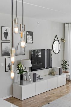 One of the comfortable and attractive living room styles is a Scandinavian living room. Scandinavian living room layouts have several versions. One of them is the Scandinavian living room minimalist. Dark Living Rooms, Home Living Room, Apartment Living, Living Room Designs, Small Living, Cozy Apartment, Apartment Ideas, Dark Rooms, Tv On Wall Ideas Living Room