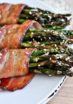 Bacon wrapped caramelized sesame asparagus makes a great side dish that everyone will love!