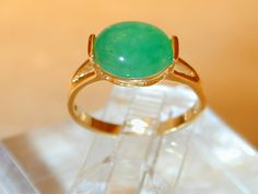 JP: Oval Shaped Jade Gold Ring.