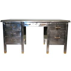 1920s/30s French Metal Desk with Brass Detail