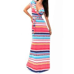 Wholesale Sexy Plunging Neck Short Sleeves Striped Women's Maxi Dress Only $10.68 Drop Shipping | TrendsGal.com