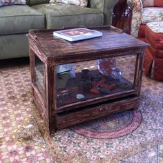 Old display case coffee table Shadow Box Coffee Table, Reptile Cage, Coffee Table Design, Display Case, Home Goods, Recycling, Paint Ideas, Apartment Ideas, Mansion