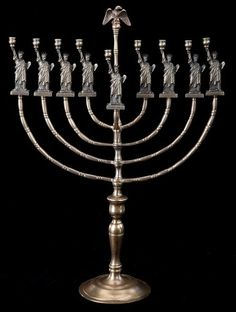 This menorah, made by German immigrant Manfred Anson, celebrates American and Jewish tradition