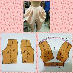 şalvar kalıpları Sewing Pants, Sewing Clothes, Diy Clothes, Skirt Patterns Sewing, Clothing Patterns, Pattern Draping, Thai Dress, Fashion Wallpaper, Collar Designs