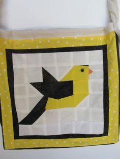Bird bag - Cross body Bag - Goldfinch Tote bag - Book bag - Useful Tote - Yellow/Black Tote - Large Tote - Bird Lover's gift - Woman's gift by OutoftheSewingBox on Etsy