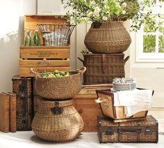 wicker baskets, wooden boxes