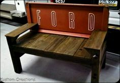 Wooden tailgate bench.
