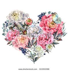 Watercolor Heart Shaped Floral Bouquet made of Peonies, Foliage and Privet Berries. Vintage Style Wedding Decoration Isolated on White.