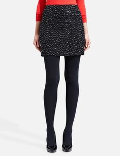 Tweed Mini Skirt w/ bright coral, love the color combo