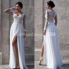 Elegant White A Line Sweetheart Long Sleeves Zipper Appliques Prom Dresses 2018 Chiffon Sexy
