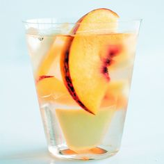 PERSONAL FAVORITE.  For 3 gallon beverage dispenser: bottle of brandy, cup of sugar, 3 large (or 5 small peaches), 2 pears, strawberries, 4 bottles of white wine, 2 bottles of sparkling wine, plus ice.