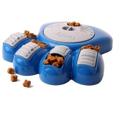 I found this on www.activedogtoys.com. Well the Aikou Interactive Dog Bowl isn't really a true dog toy but... it is a dog food puzzle, meaning your dog has to figure it out if he wants to eat!