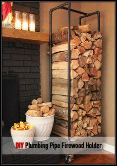 DIY Plumbing Pipe Firewood Holder