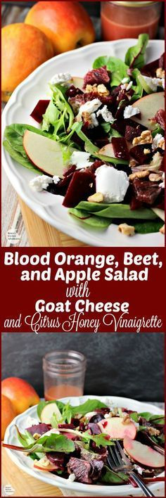 Blood Orange, Beet, and Apple Salad with Goat Cheese and Citrus Honey Vinaigrette | by Renee's Kitchen Adventures - easy meatless salad recipe with a recipe for homemade dressing made with citrus and honey #SundaySupper #RKArecipes