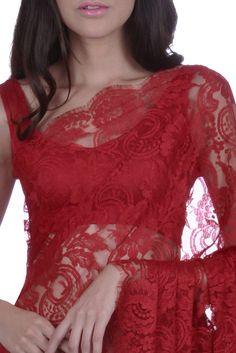 Red French Chantilly Lace Saree With Satin Crepe Blouse
