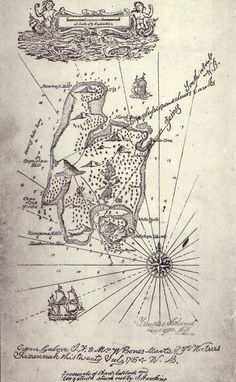 """Map of """"Treasure Island"""", from the first German edition (1883). Drawing made perhaps by Robert Louis Stevenson."""