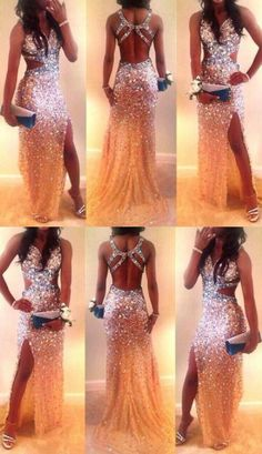 ec2ae33253 2017 Open Back New Sexy Mermaid Side Slit Sparkly Crystal Long Prom Dresses