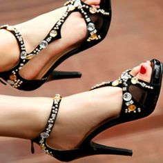 Women's Genuine Leather Ankle-Strap High-Heeled Sandals with Rhinestone Decoration