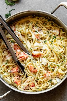 Lobster Scampi with Linguine - Cooking for Keeps Lobster Scampi Recipe, Lobster Spaghetti, Easy Lobster Tail Recipe, Lobster Dishes, Lobster Recipes, Seafood Recipes, Cooking Recipes, Fish Recipes, Butter