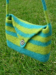 Charleston purse hand knit felted bag blue and lemon by AllUnwound, $35.00