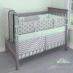 Crib bedding in Solid Icey Mint, White and Gray Zig Zag, Gray and White Elephants, Gray Deer, White and Gray Arrow, Mint Herringbone, Silver Dimpled Minky, Mint Zippy Chevron, Gray Geometric. Created using the Nursery Designer® by Carousel Designs where you mix and match from hundreds of fabrics to create your own unique baby bedding. #carouseldesigns