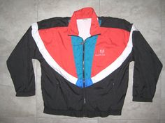 Item is preowned and used but in great overall condition. NO rips or tears or bad odors. Zipper is missing some paint. All working components are functioning. Insides are very clean. Nike Jacket, Rain Jacket, Red Black, Blue And White, Mode Vintage, Tool Design, Overalls, Windbreaker, Zipper