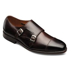 Double Monk Strap leather shoe.  Can be worn with a suit or jeans.  I might prefer a plain toe to a cap toe, but this Allen Edmonds design in dark brown is both contemporary and classic.