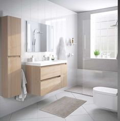 Modern compact bathroom set suspended with furniture auxi .- Modern compact bathroom set suspended with auxiliary furniture. Economic bathroom furniture and fast delivery. Bathroom Layout, Modern Bathroom Design, Bathroom Interior Design, Bathroom Design Inspiration, Bad Inspiration, Design Ideas, Bathroom Trends, Bathroom Renovations, Bathroom Ideas