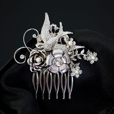 Bridal Hair Comb with Bird flowers and rose by LuluSplendor