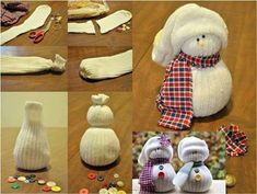 Easy sock snowman for teacher Christmas gifts.  Simply use socks, rice and accessories like buttons.