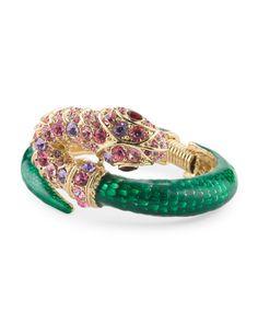 Gold Tone Green And Pink Crystal Snake Bracelet