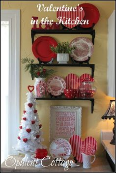Valentine's day: ideas--Note LOVE, the framed words below the shelf, bits of green, a few hearts...