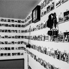 Inside the bedroom of a 16 year old boy // photos of friends & memories ... so much cooler than concert posters. 4x4 Prints from Persnickety Prints.