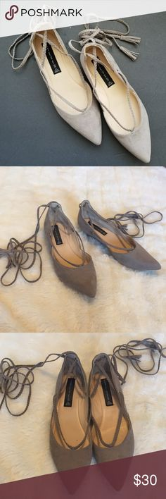 Steve Madden Getty Lace-Up Flats 7.5 Gorgeous Gray/Taupe Getty Flats by Steve Madden. Pointed toe & lace up with braided laces that have tassels at the end. Faux suede. Worn about 5-10 times. Super cute & a great color that goes with everything & suits all seasons. Size 7.5 & in my opinion fits true to size. Steven By Steve Madden Shoes Flats & Loafers