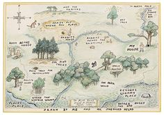 1926E. H. Shepard (English illustrator, 1879-1976) ~ Map of the 100 Acre Wood, Drawn by Christopher Robin with Assistance from Mr. Shepard.