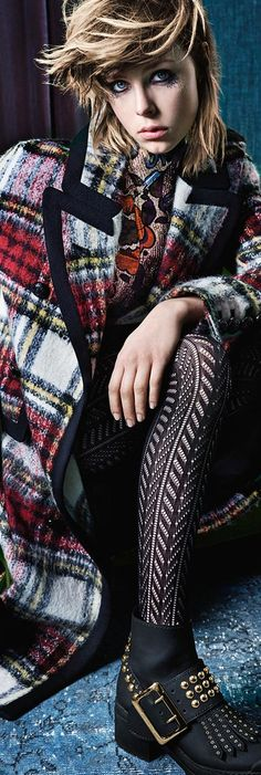 Tartan check mohair, teamed with The Patchwork and The  Buckle Boot detailed with studs for the new Burberry campaign. Featuring Edie Campbell, shot by Mario Testino