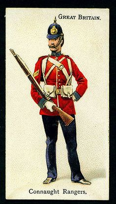 "Connaught Rangers - Wills's Cigarettes, ""Soldiers of the World"" - 1895 British Army Uniform, British Uniforms, British Soldier, British Army Regiments, The Devil's Own, Army History, Military Cards, Irish Warrior, British Armed Forces"