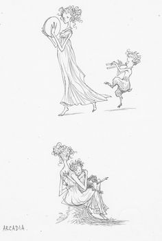 Dryad and Faun. Drawings, Drawing, Portrait, Illustrations
