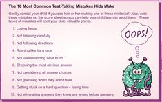 Top Test Taking Mistakes Kids Make Study Apps, Test Taking, Most Common, Private School, Parenting Hacks, Scores, Kids Learning, Mistakes, Nyc