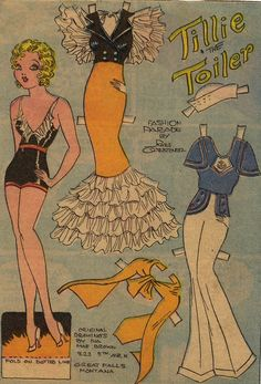 Tillie the Toiler * 1500 free paper dolls for other Pinterest paper doll pals at Arielle Gabriel's The International Paper Doll Society *