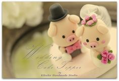 lovely piggy and piglet bride and groom wedding cake topper | Flickr: Intercambio de fotos