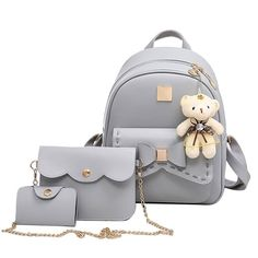 Cheap backpack medium, Buy Quality bag arm directly from China backpack men Suppliers: Kavard Fashion Backpack Women Pu Leather Back Pack Famous Brand School Bags for Girls sac a dos femme with Purse and Bear 2017 Stylish Backpacks, Cute Backpacks, Girl Backpacks, School Backpacks, Lace Backpack, Backpack Bags, Leather Backpack, Pu Leather, Set Fashion