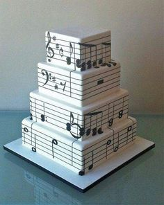 Music notes cake for a music themed wedding party Pretty Cakes, Cute Cakes, Beautiful Cakes, Amazing Cakes, Music Themed Cakes, Music Cakes, Unique Cakes, Creative Cakes, Music Note Cake